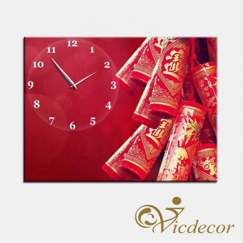 Tranh đồng hồ Pháo hoa ngày Tết Vicdecor