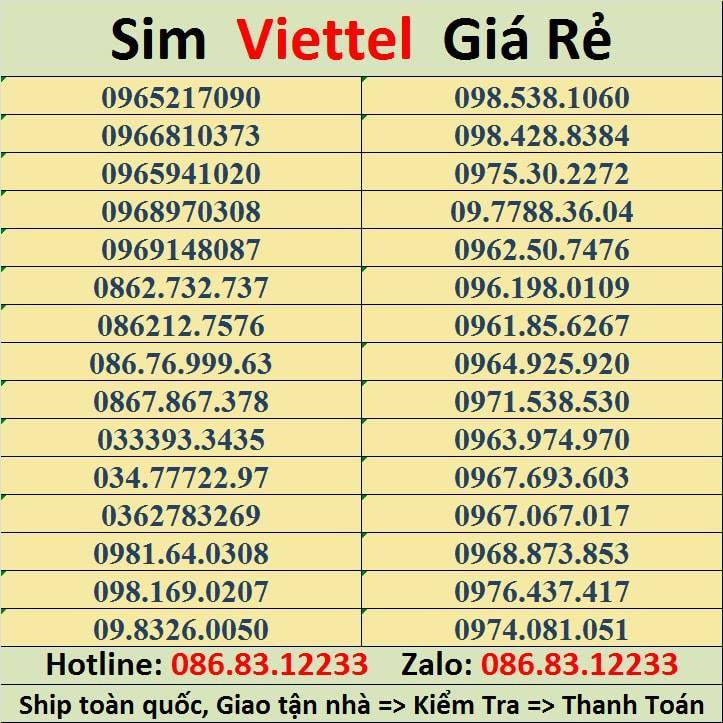 Web Sim số đẹp Viettel - Simsodepviettelcom