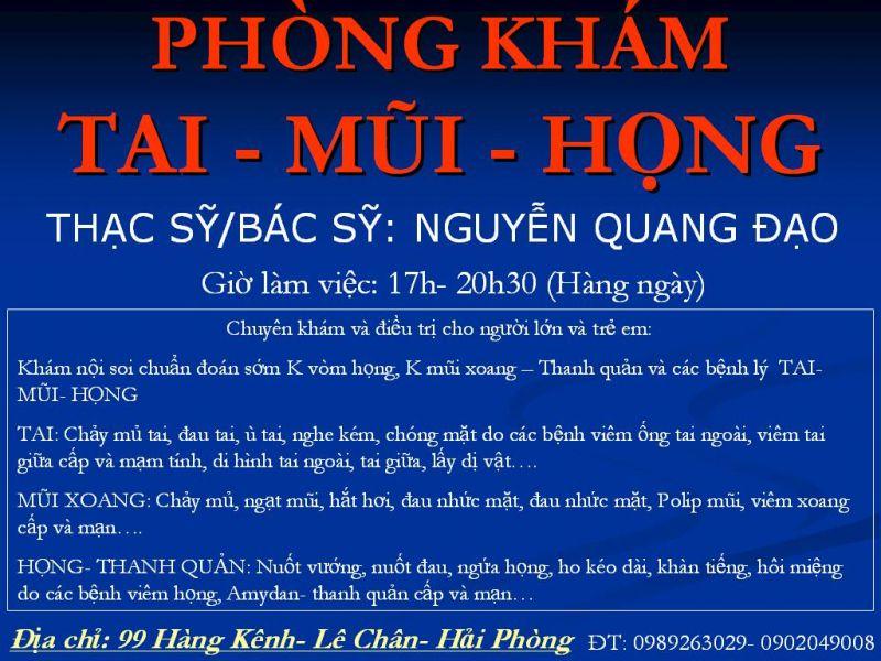 Phòng Khám Tai Mũi Họng - Nguyễn Quang Đạo