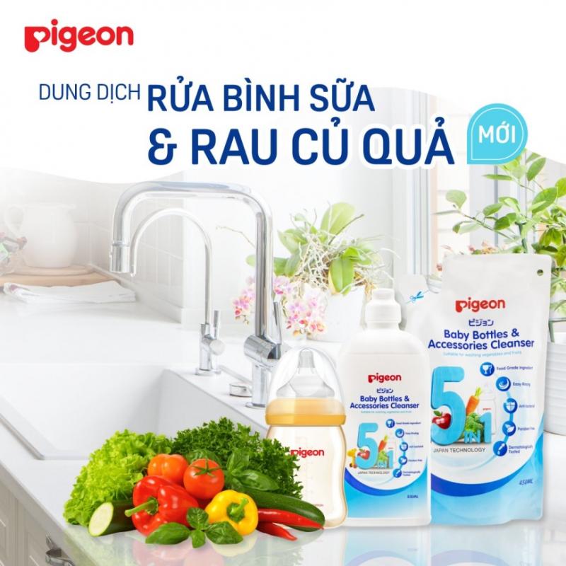 Dung dịch súc rửa bình sữa và phụ kiện Pigeon