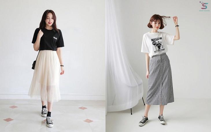 Chân váy dài xếp ly kết hợp áo phông năng động