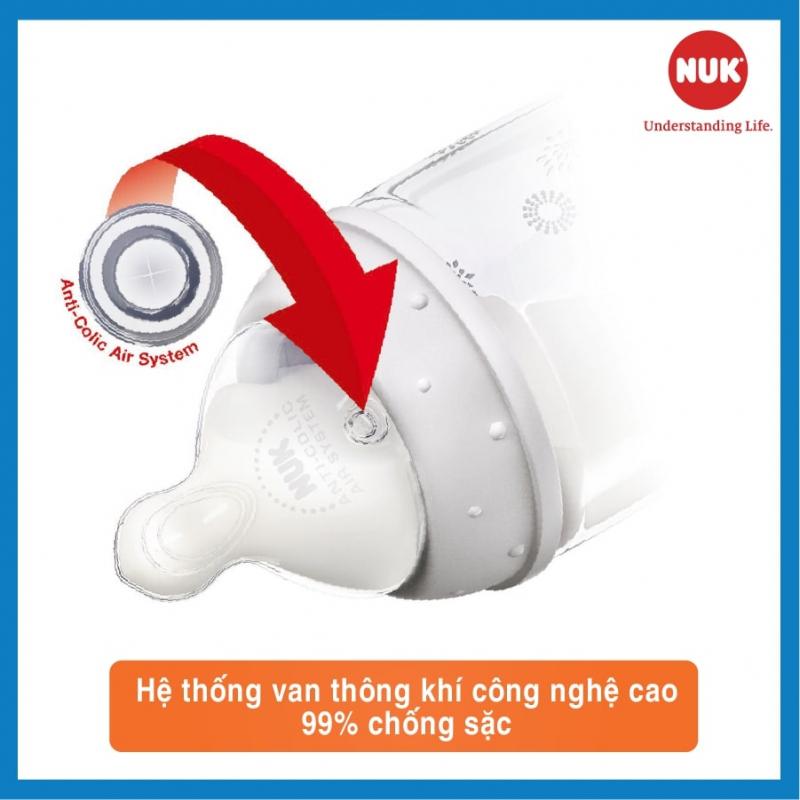 Bình sữa cổ rộng với van chống sặc công nghệ cao giúp 99% chống sặc, đầy hơi, đau bụng