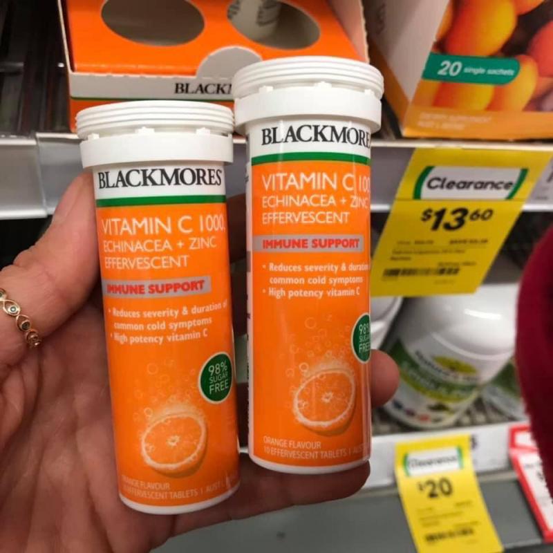 Viên sủi bổ sung vitamin C và kẽm Blackmores Vitamin C 1000 Echinacea + Zinc 10 Effervescent