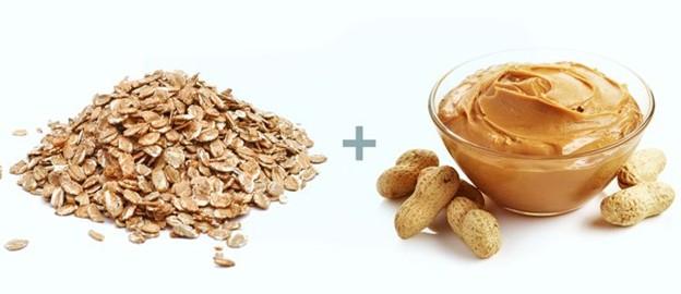 Bột yến mạch + Bơ đậu phộng