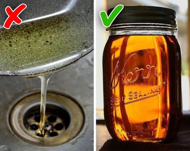 Đổ dầu vào bồn rửa