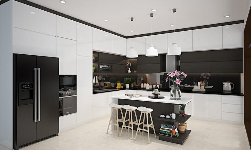 Tủ bếp dùng gỗ màu sáng