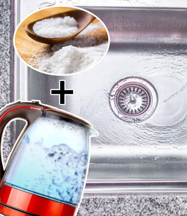 Loại bỏ vấn đề với muối và nước sôi