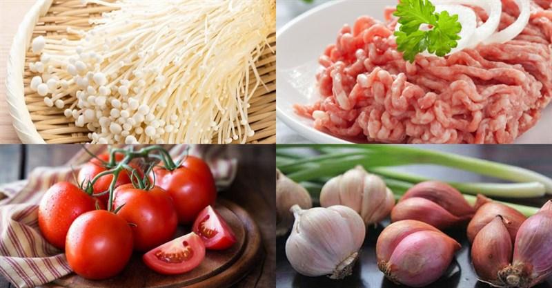 Nấm kim châm xào thịt băm cà chua