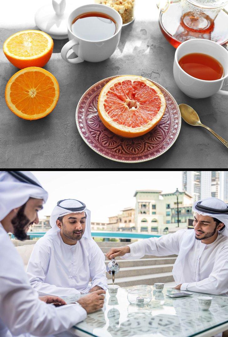 Rót một nửa tách trà chỉ dành cho những vị khách được chào đón ở Dubai và Kazakhstan