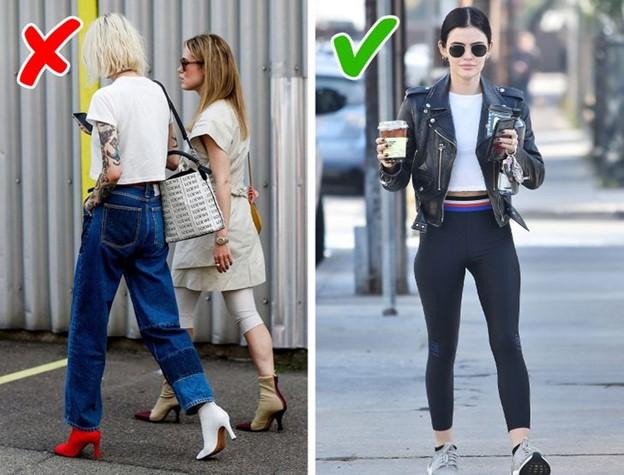 Tránh mặc quần legging với áo dài hoặc váy