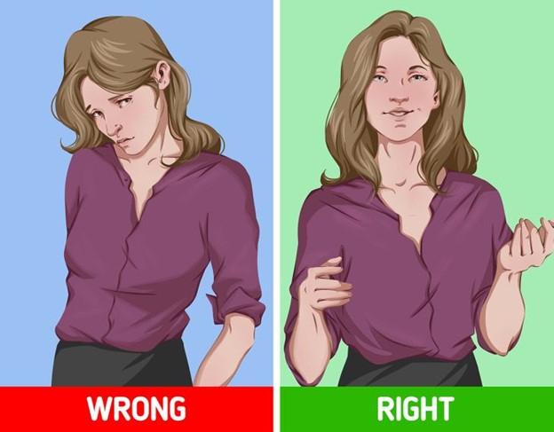 Áp dụng tư thế thân người thẳng đứng và mở khi giao tiếp