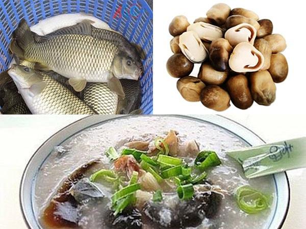 Cháo cá chép đậu xanh, nấm rơm, rau củ