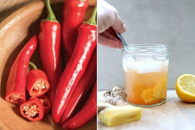 Gừng, chanh và ớt cayenne