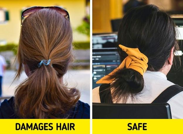 Sử dụng dây buộc tóc cao su