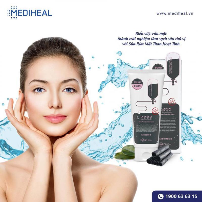 Sữa Rửa Mặt Than Hoạt Tính Mediheal Pore-Clean Charcoal Cleansing Foam