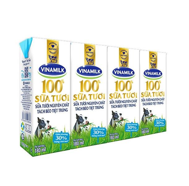Sữa tươi tiệt trùng Vinamilk 100% Tách béo không đường