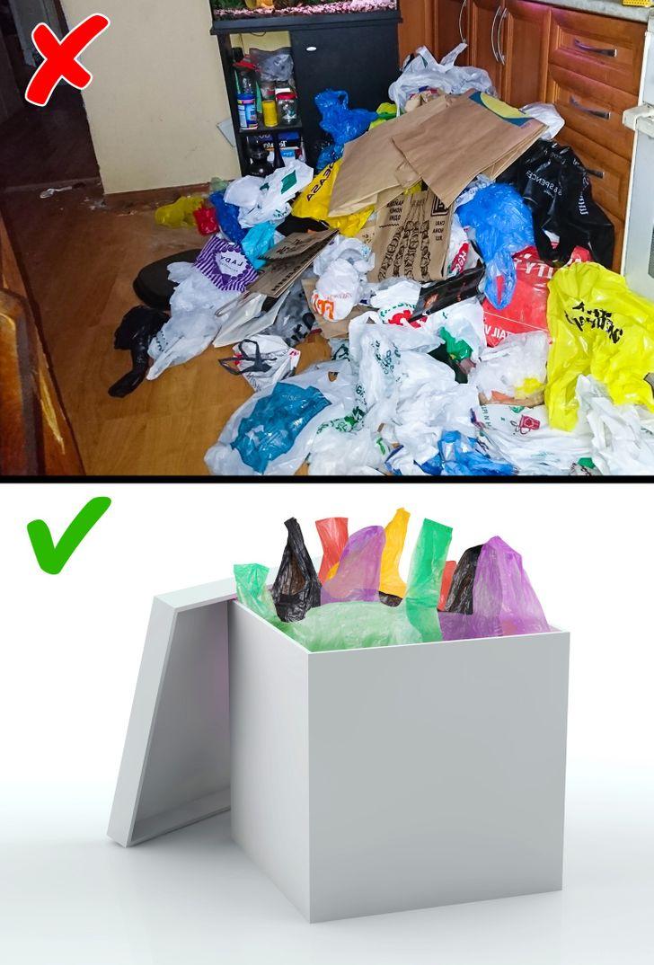 Thu nhặt những túi nhựa