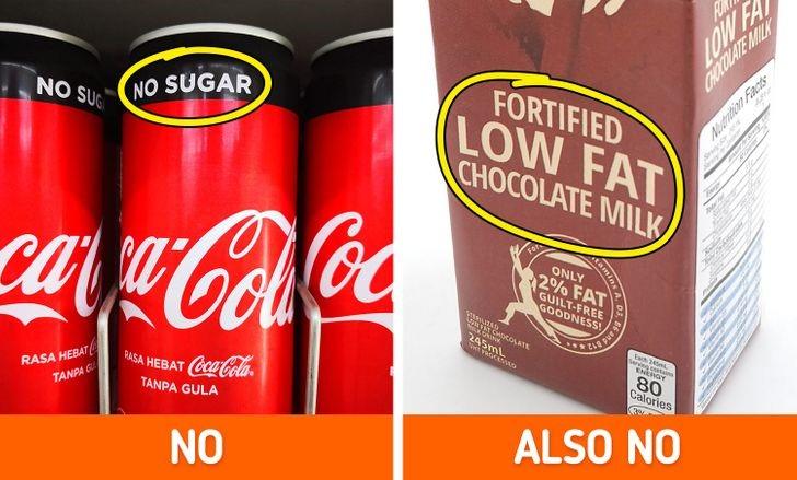 """Các sản phẩm được dán nhãn """"ít chất béo"""" hoặc """"không đường"""""""