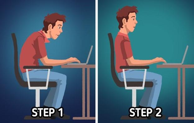 Làm theo các bước 1-1 giản sau để ngồi đúng tư thế