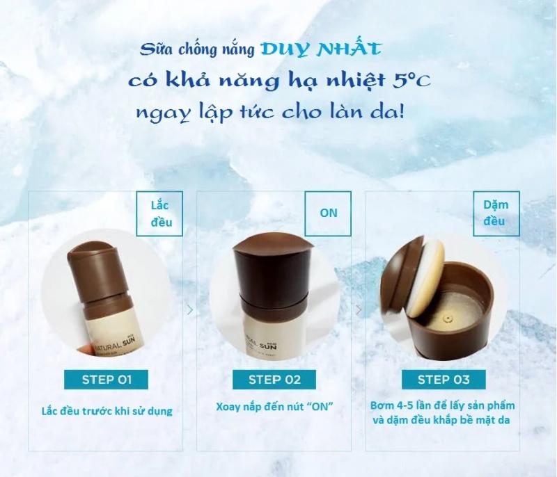 Sữa Chống Nắng Hạ Nhiệt Làn Da NATURAL SUN ECO ICE AIR PUFF SUN SPF50+PA+++ 100ml
