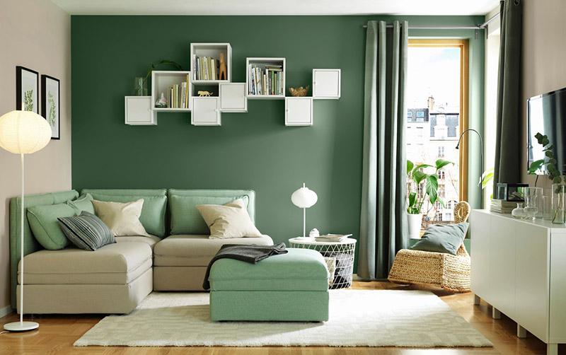 Tạo điểm nhấn bằng bức tường có màu đối lập