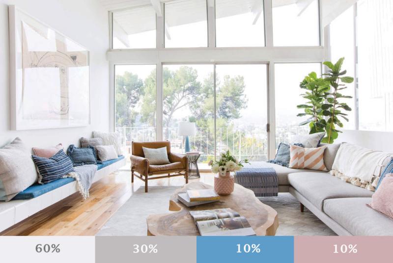 Tuân thủ quy tắc 60-30-10 để đảm bảo cân bằng màu sắc trong tổng thể