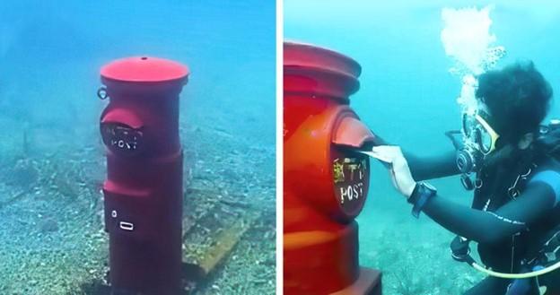 Có 1 hộp thư dưới nước ở Nhật Bản và bạn có thể gửi thư từ đó