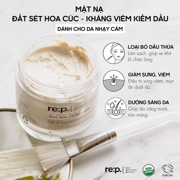 Mặt Nạ Đất Sét Hữu Cơ RE:P Bio Fresh Mask With Rep Real Herbs Cấp ướt Và Phục Hồi Da