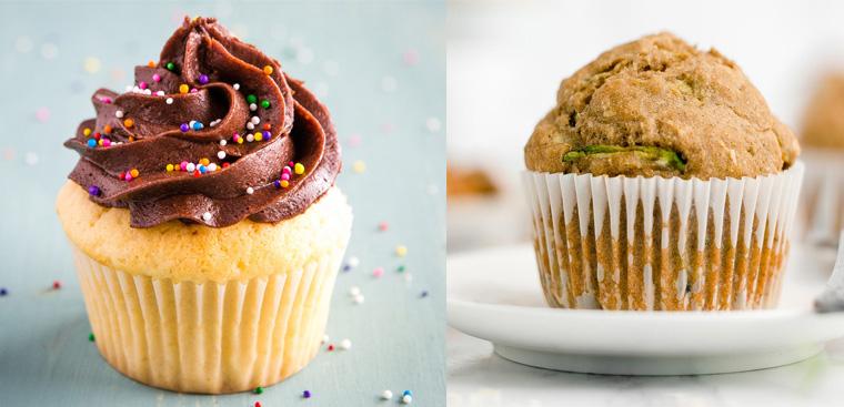 Muffin và cupcake