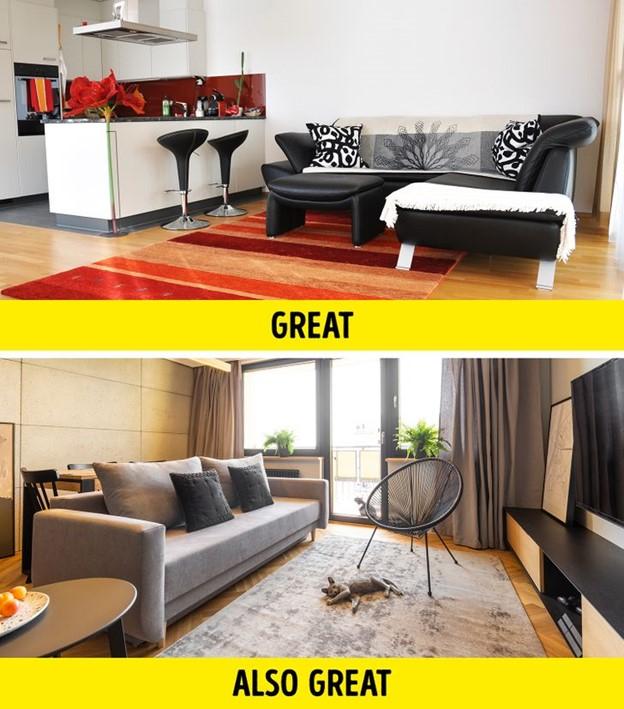 Phân chia không gian bằng cách sử dụng các đồ nội thất