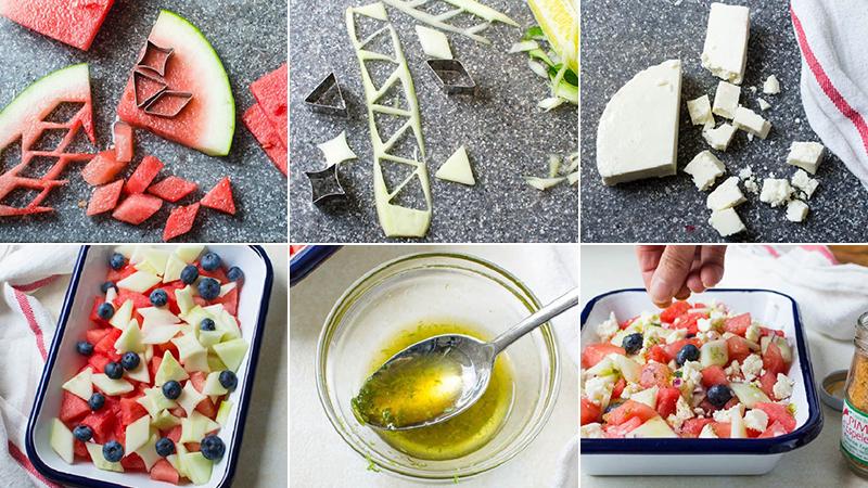 Salad dưa hấu, dưa leo, phô mai