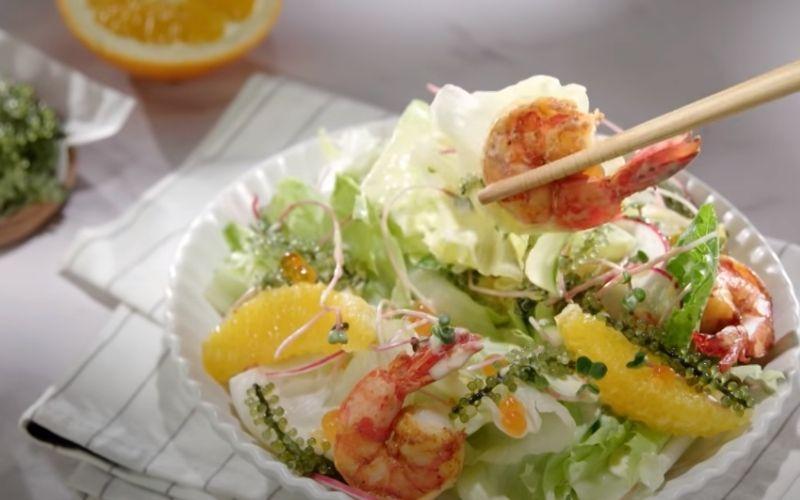 Salad rong nho sốt cam