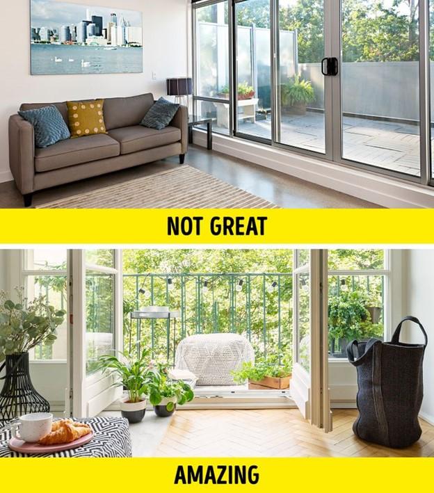 Sử dụng ban công như 1 phần mở rộng của phòng khách để có thêm không gian