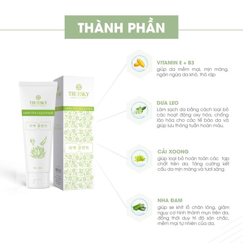 Sữa rửa mặt trắng da và ngăn ngừa lão hóa chiết xuất nha đam Truesky Arbutin Cleanser 60ml
