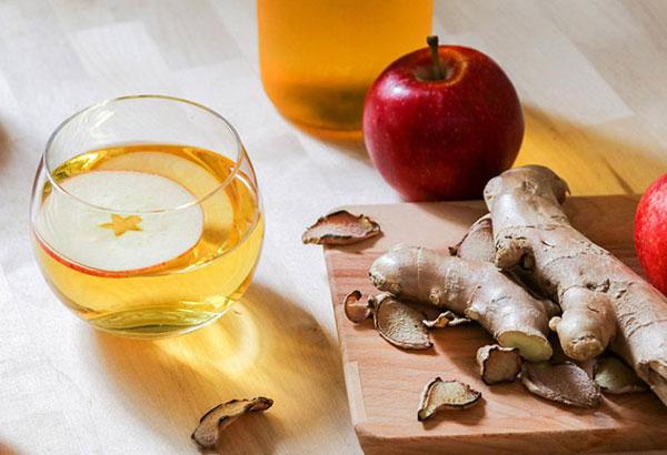 Uống giấm táo giảm cân ngâm gừng