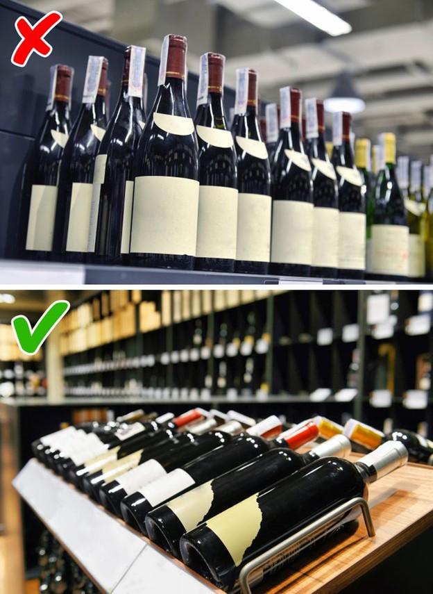 Ưu tiên các chai rượu được bảo quản khi đặt nằm theo chiều ngang