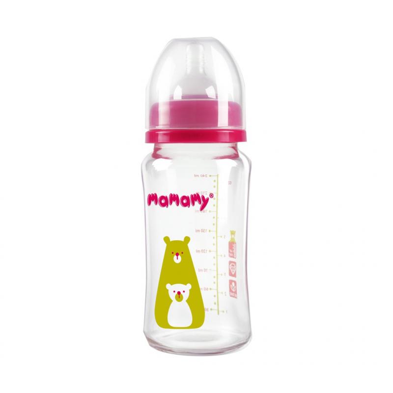 Bình sữa giữ nhiệt thủy tinh cổ rộng Mamamy, bình sữa cho bé sơ sinh 240ml