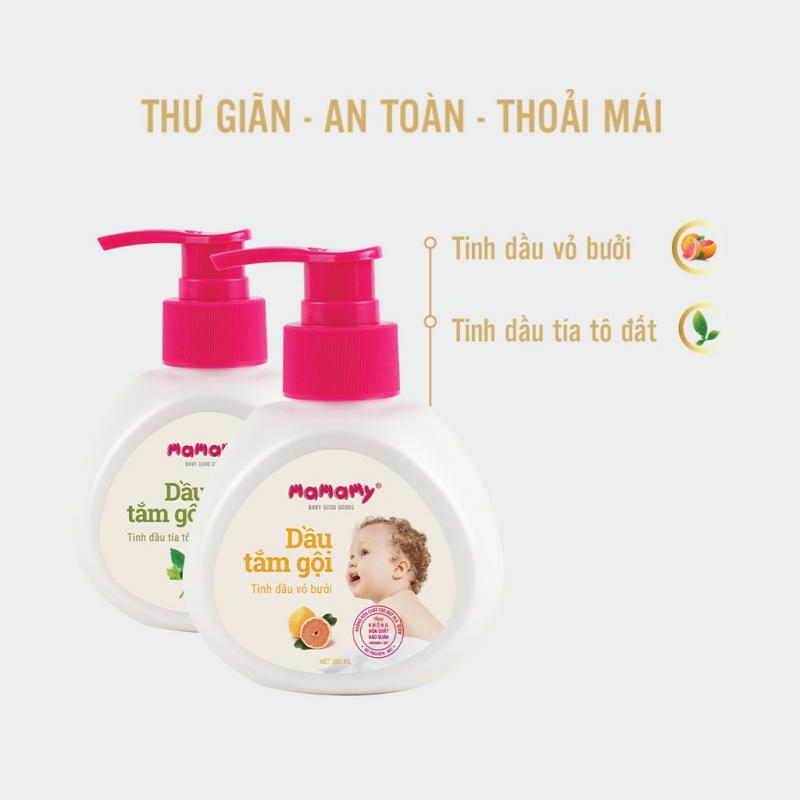 Dầu tắm gội toàn thân Thiên nhiên Mamamy An toàn cho da 400ml/chai