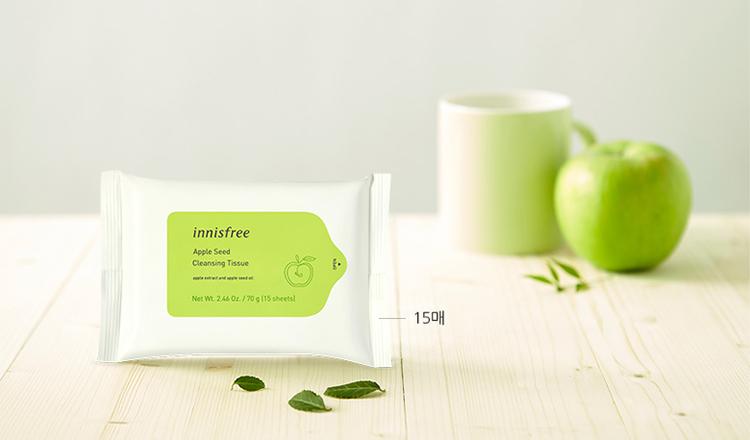 Khăn ướt tẩy trang innisfree Apple Seed Cleansing Tissue 15 tờ