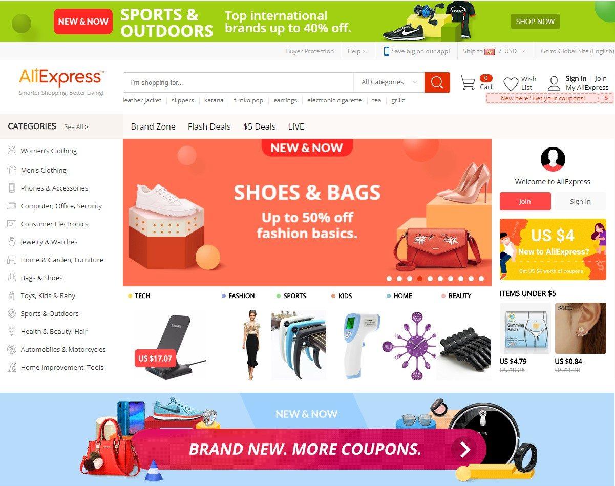 Trang Aliexpress nhắm tới tệp khách hàng mua lẻ và khách hàng quốc tế.
